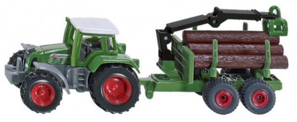 Tracteur Fendt avec remorque forestière