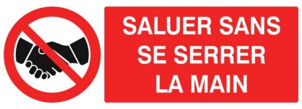 ADHESIF PVC RECTANGLE «INTERDICTION DE SERRER LA MAIN»