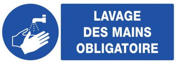ADHESIF PVC RECTANGLE «LAVAGE DES MAINS OBLIGATOIRE »
