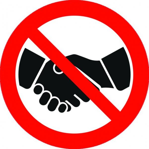 ADHESIF PVC ROND  «INTERDICTION DE SERRER LA MAIN»