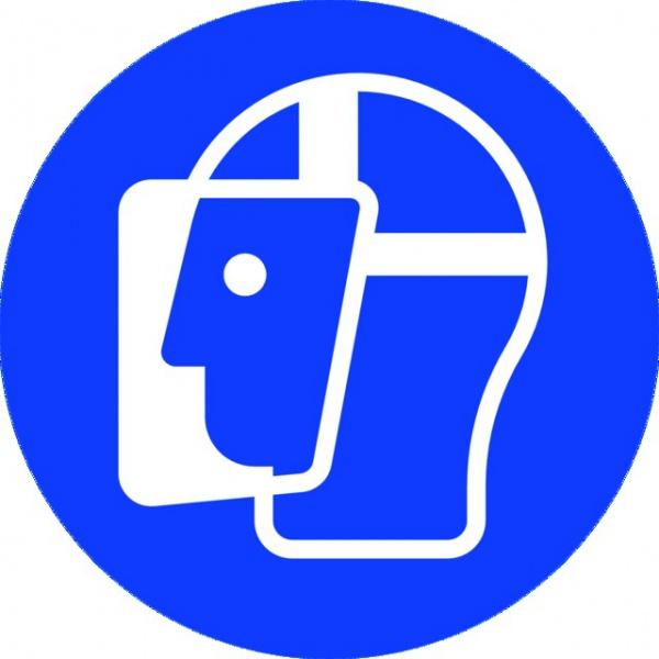 ADHESIF PVC ROND «PORT D\'UNE VISIERE OBLIGATOIRE »
