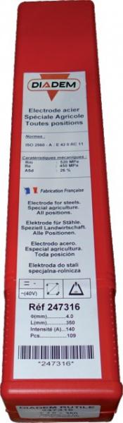 BOITE 109 ELECTRODES RUTILES DIADEM SPECIALES AGRICOLES  D: 4X350MM