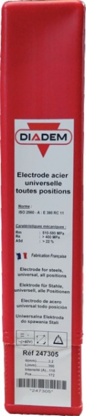 BOITE 172 ELECTRODES RUTILE DIADEM D=3.2MM LG=350MM