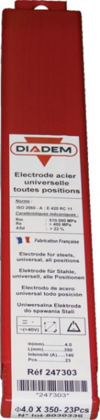 BOITE 23 ELECTRODES RUTILE DIADEM D=4MM LG=350MM