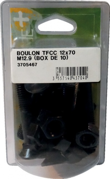Boite de 10 boulons tête fraisée collet carré 12X70 mm 12,9 brut