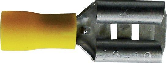 Boite de 10 cosses plates jaune femelle à sertir 9,5 mm.