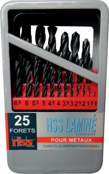 COFFRET 25 FORETS MÉTAUX 1 À 13 MM HSS