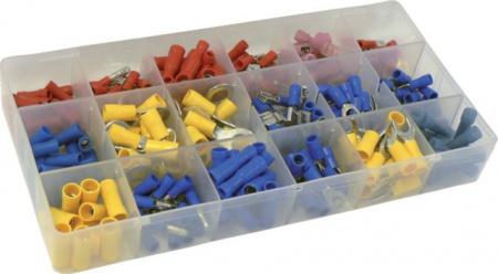 Coffret de 260 cosses bleu, rouge, jaune à sertir