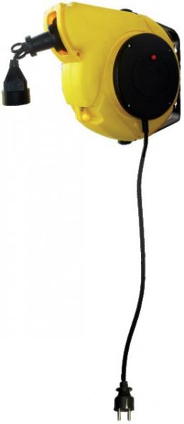 Enrouleur automatique 13 mètres, à fixation mural HO5VV-F 3G 1mm² jaune