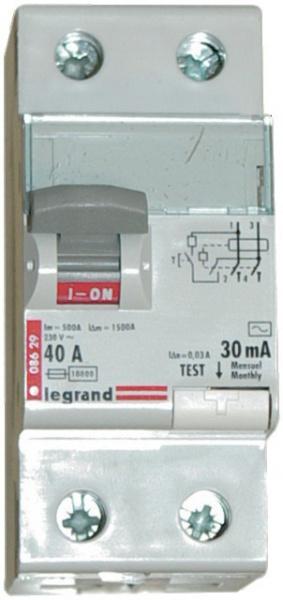 Intèrrupteur différentiel deux pôles 40 A – 30 mA LEGRAND