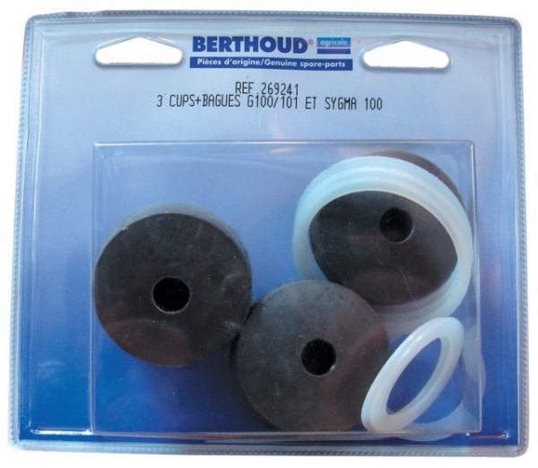 Kit 3 cups + bagues + 6 joints pompe BERTHOUD GAMA 100-101A-B SYGMA 100/40 – 100/50