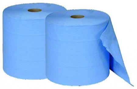 Lot de deux bobines d'essuyage en ouate bleue
