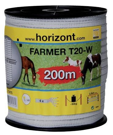 RUBAN FARMER T20-W 20MM BLANC 4 INOX 200M