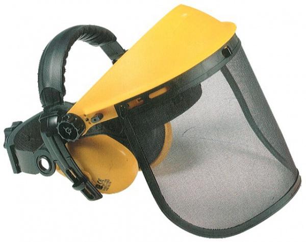 Visière grillagée de protection avec casque anti-bruit